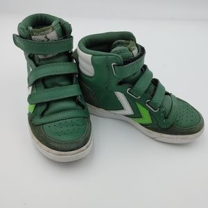 Hummel leather high top sneakers boys size 12